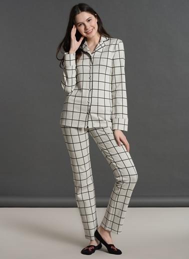 Dagi Kareli Gömlek Uzun Kollu Pijama Takımı Ekru